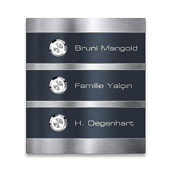 El timbre LED de acero inoxidable antracita grabado alta calidad /& diseño moderno inoxidable