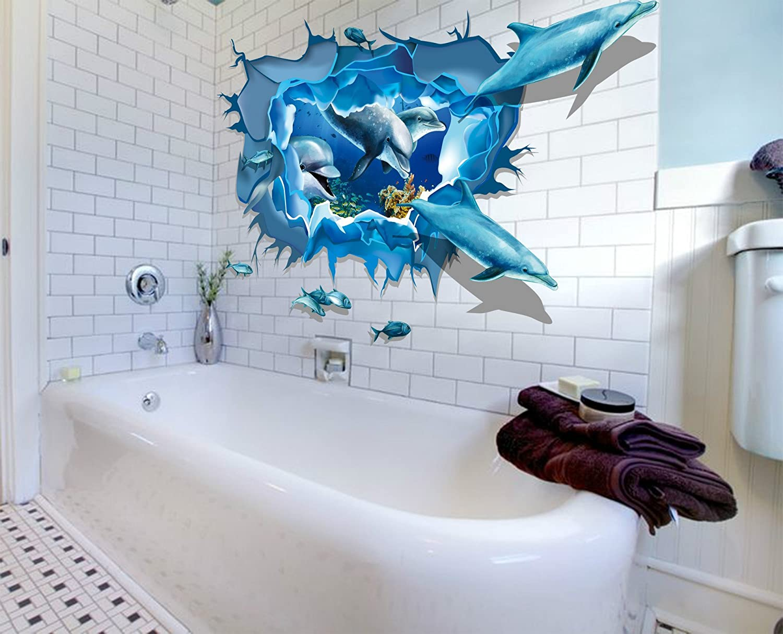 Delphin 3D XXL Wandtattoo Wandsticker Sticker Meer Unterwasserwelt ...