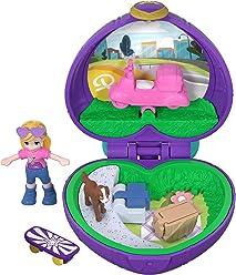 Polly Pocket Mini-Coffret violet Le Pique-Nique avec 1 mini-figurine et accessoires skateboard, panier et chien, jouet enfant, édition 2018, FRY30