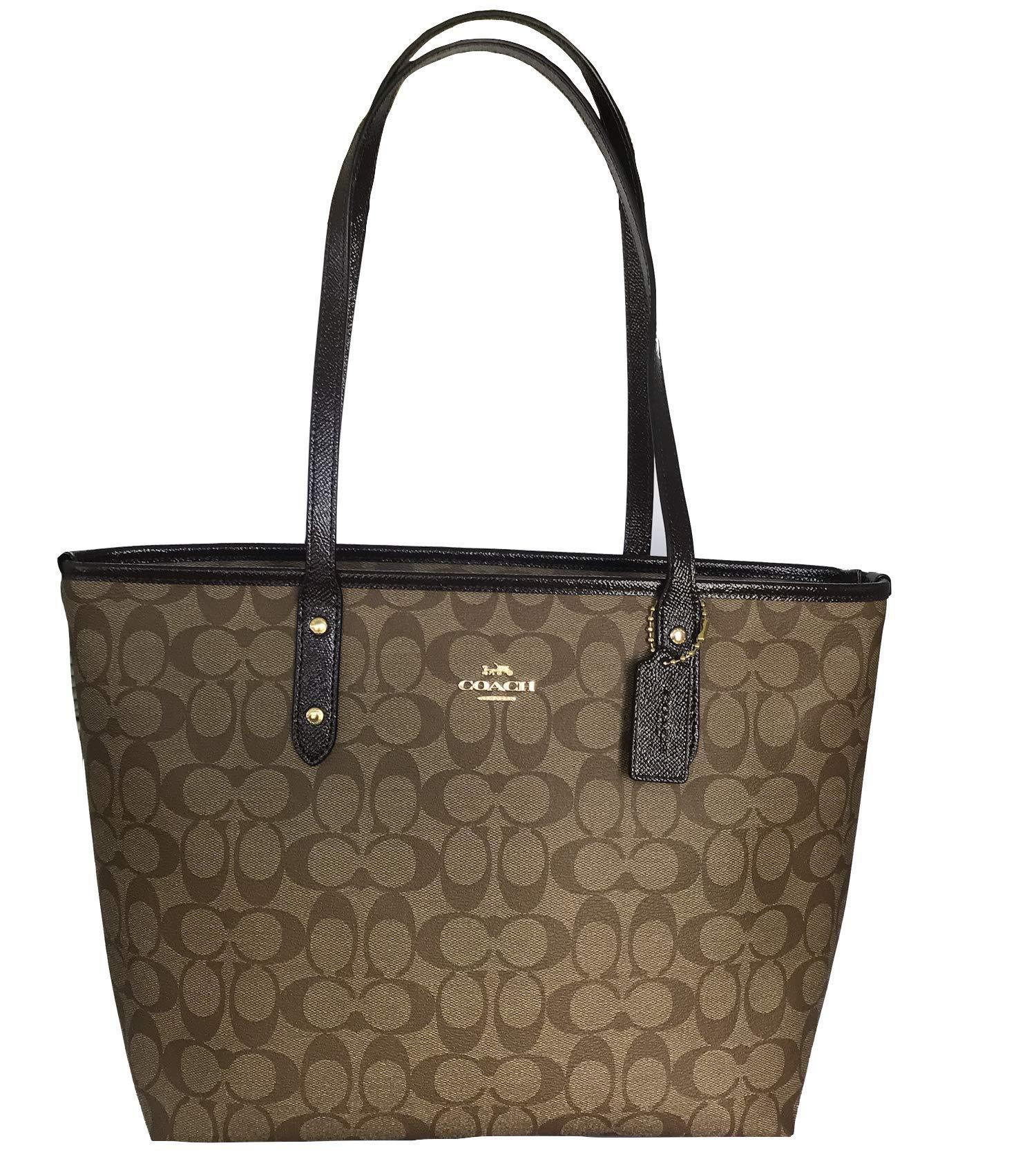 Coach Signature City Zip Tote Bag Handbag (Oxblood Multi)