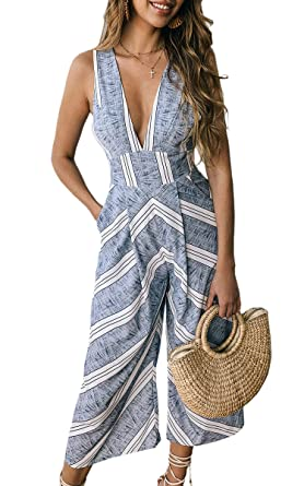 1c2aecd99b Amazon.com: ECOWISH Womens Jumpsuits Casual Button Deep V Neck Sleeveless  High Waist Wide Leg Jumpsuit Rompers with Pockets: Clothing