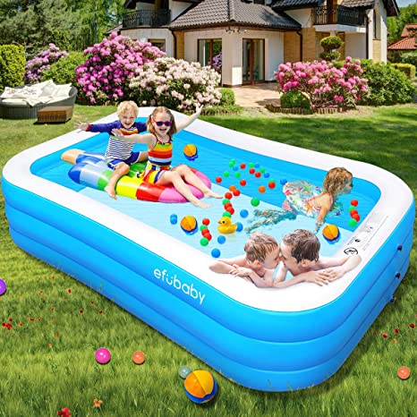 Efubaby Inflatable Pool 95 X 56 X 22 Kid Pools Inflatable Swimming Pools Toddler Pool Blow Up Pools Family Pool For Baby Kiddie Adult Ages 3 Outdoor Garden Backyard Ground Party