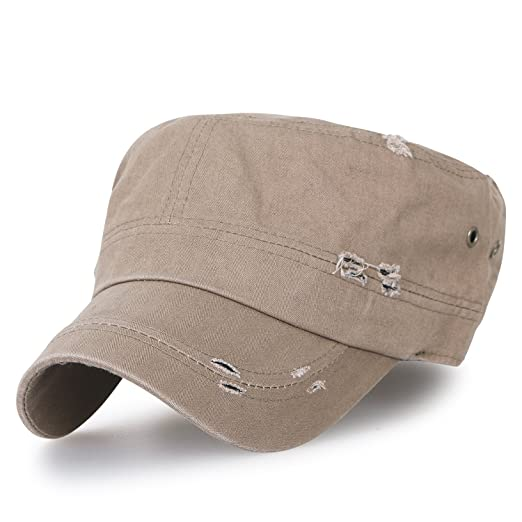 9ad4a4100e4 ililily Large Size Solid Color Military Army Hat Washed Cotton Vintage  Cadet Cap