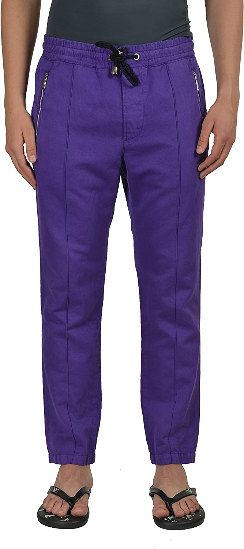 Just Cavalli Mens Purple Linen Casual Pants Size US 32 IT 48