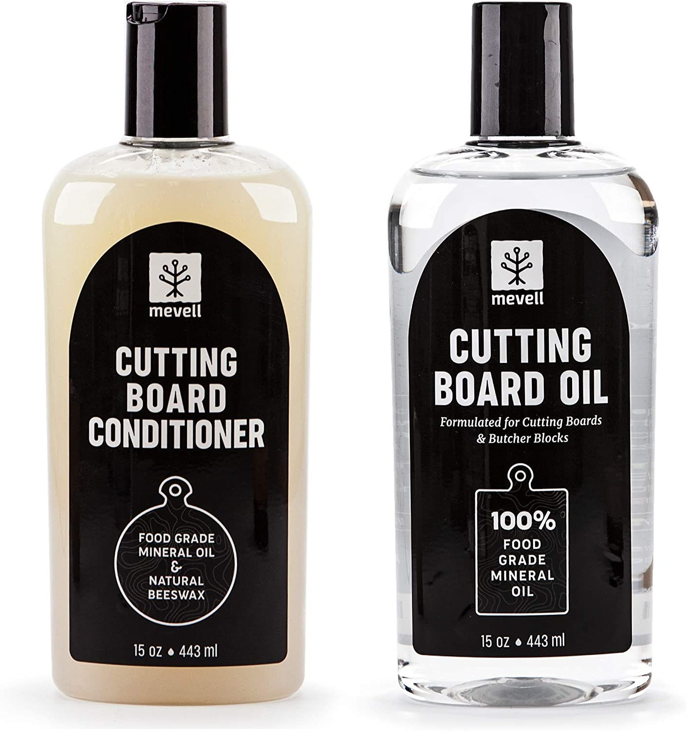 Mevell Cutting Board Oil and Wax Conditioner, Food Grade Mineral Oil and Natural Bees Wax Conditioner, Great for Butcher Blocks, Countertops, Wood Bowls and Utensils