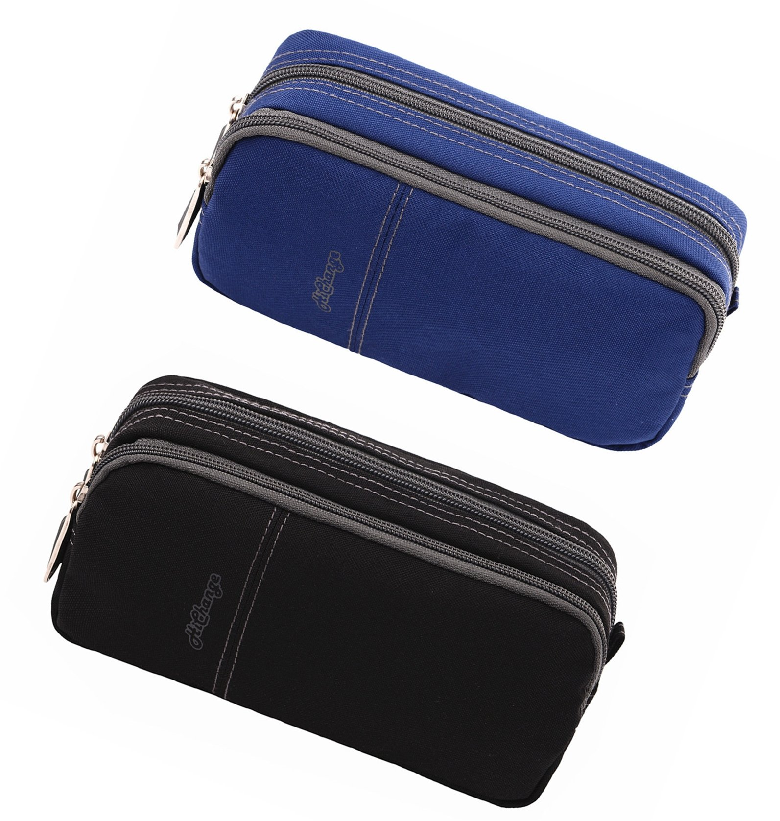 Pencil Case Large Pencil Pouch Pencil Bag with Double Compartments for Girls Boys Adults  (2Pack Black+Navy) by HiChange