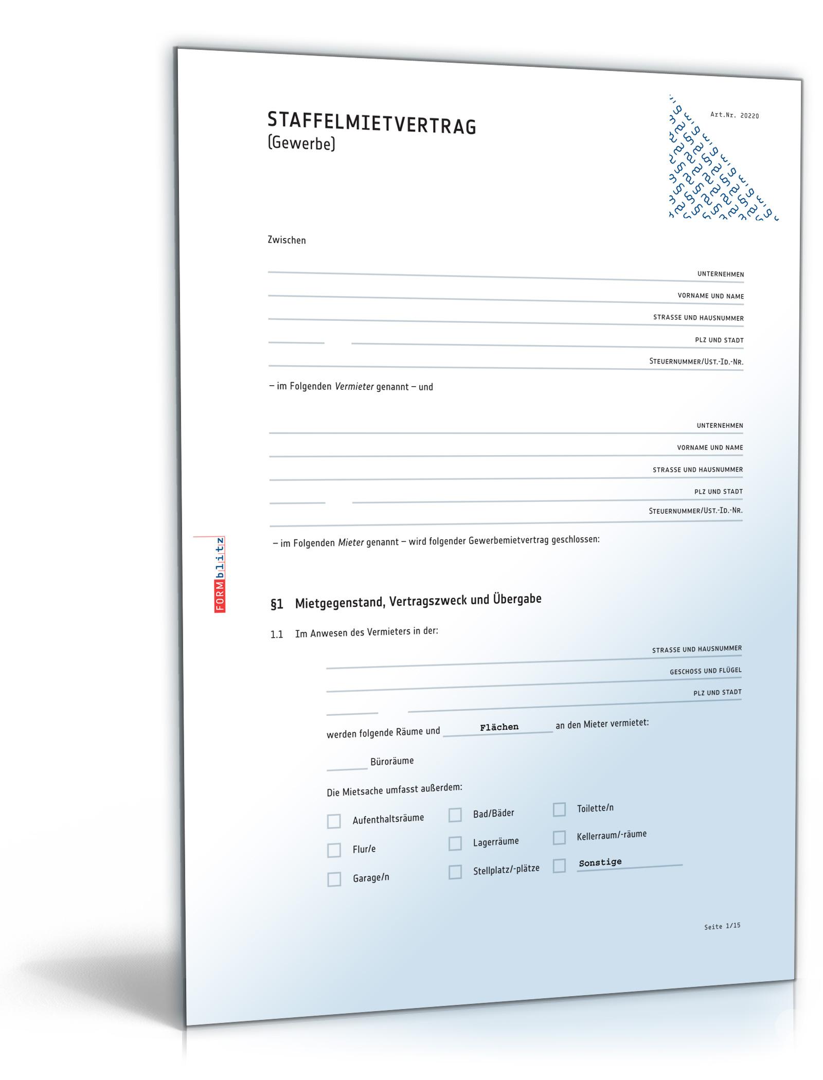 Staffelmietvertrag Gewerbe [PDF Download]: Amazon.de: Software