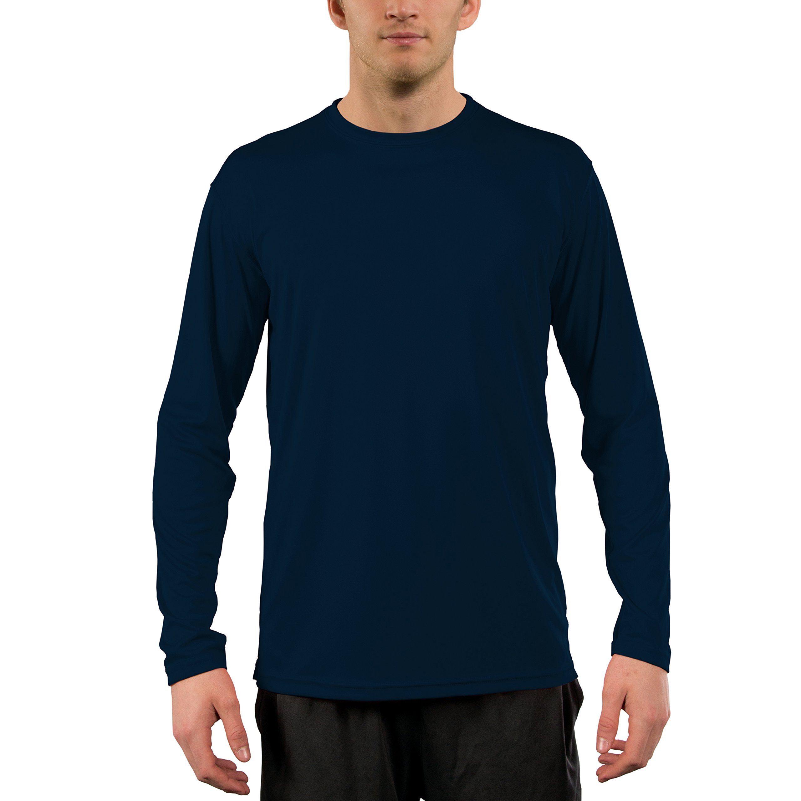 Vapor Apparel Men's UPF 50+ Sun Protection Performance Long Sleeve T-Shirt Large Navy