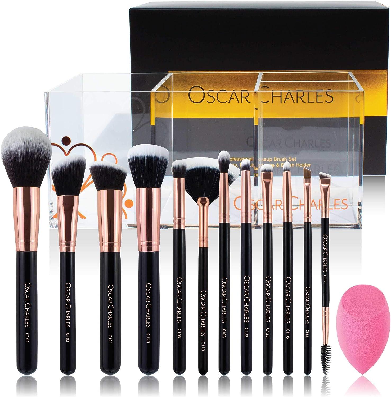 Oscar Charles Juego de brochas de maquillaje Radiance profesional con esponja de belleza y porta brochas [Oro rosa]: Amazon.es: Belleza