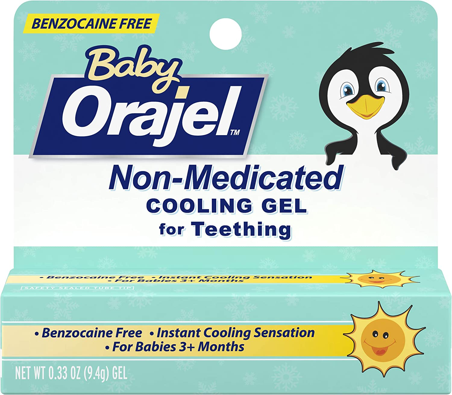 Orajel Non-Medicated Cooling Teething Gel Daytime 0.125 Ounce
