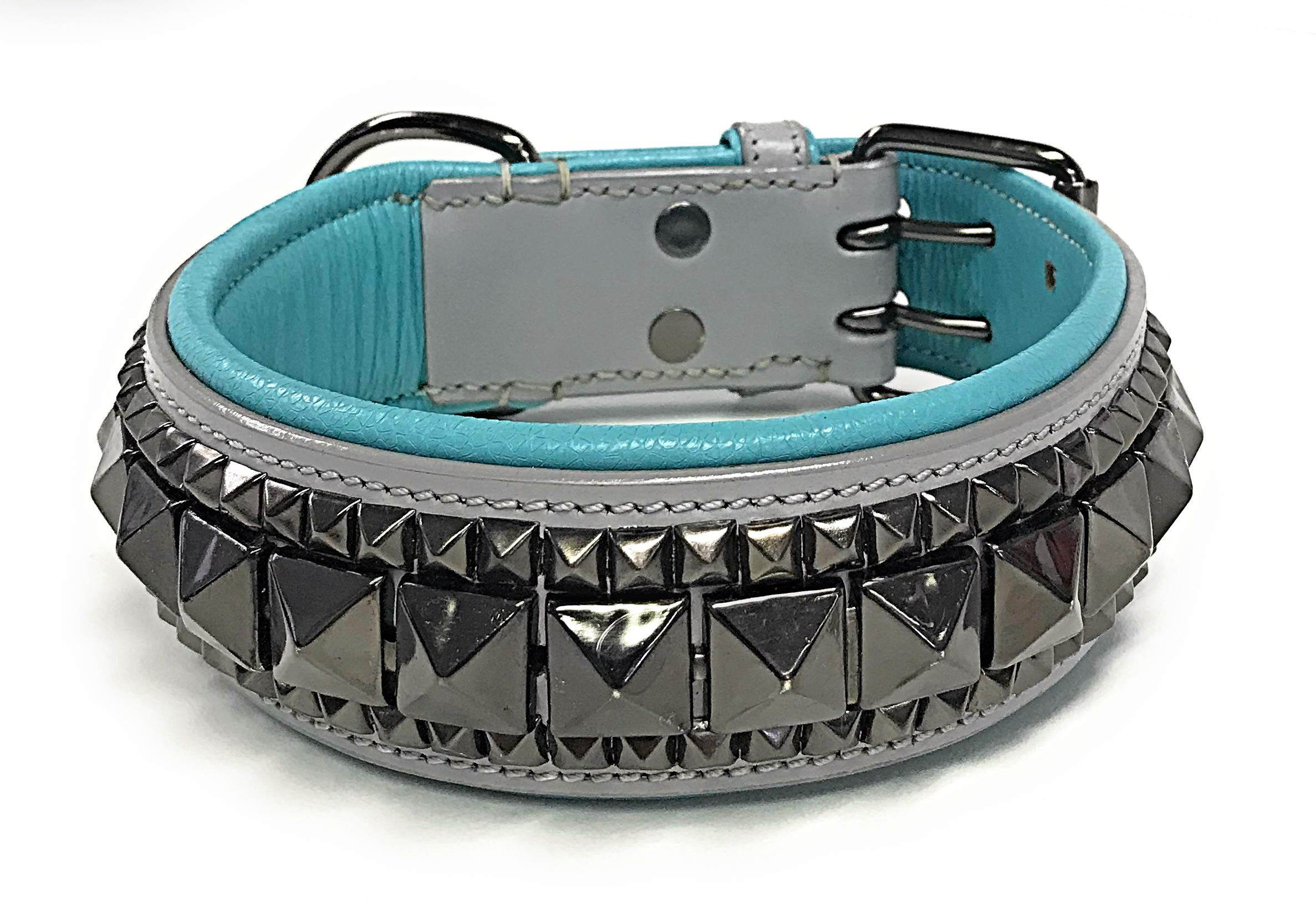 Luxury Leather Padded Dog Collar - Premium Pet - (Small, Medium, Large, XL) - by LUX (Large, Gray/Blue Padding)