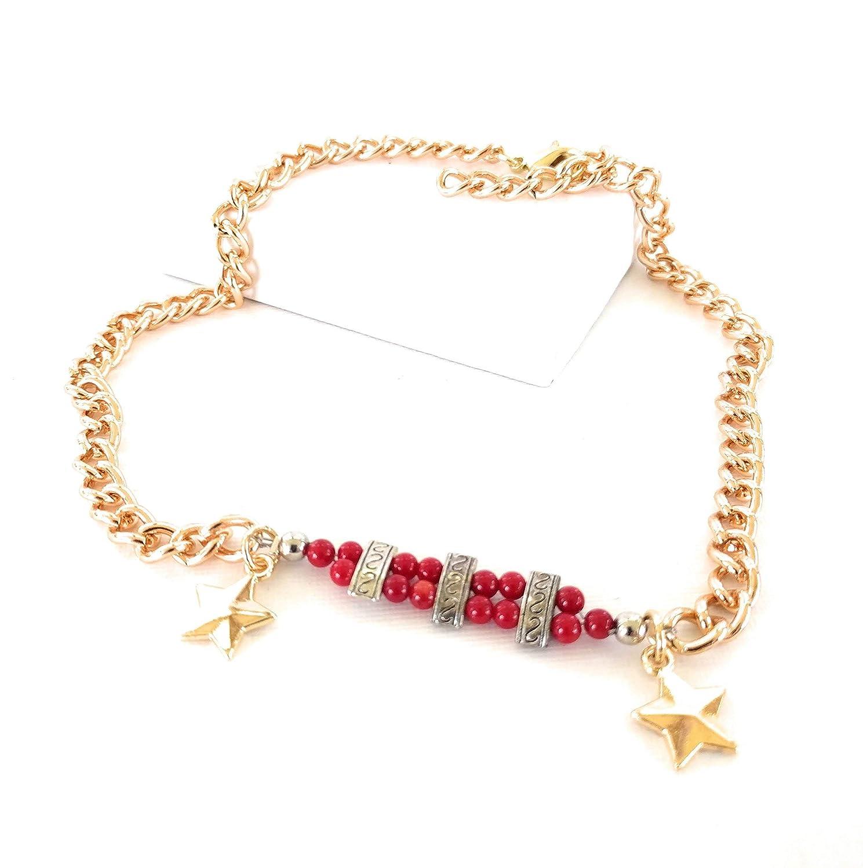 Boot Bracelet Star Coral Chain Adj 16 Inch Gold