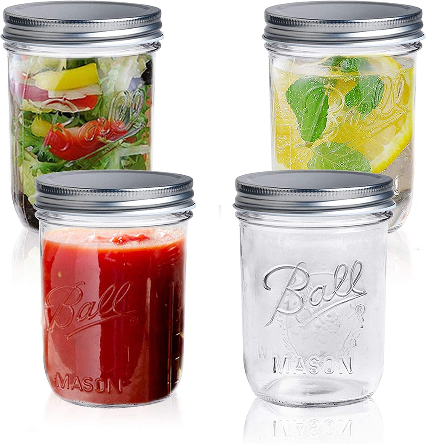 Wide Mouth Mason Jars - Akamino 4 Pack Clear Glass with Airtight Lids 16 oz Canning glass Jars for Food Storage, Drinking,Jam, Honey