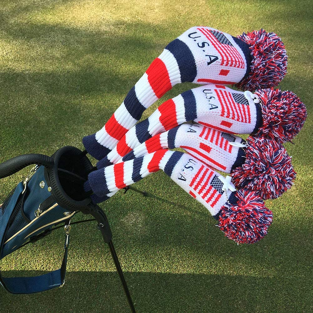 B01LF4R764 CRAFTSMAN GOLF US Flag Knit Pom Pom White Blue Red Driver,Fairway Wood, Hybrid Head Cover Headcover for Callaway Mizuno Cobra Taylormade 71SJaNFEC7L