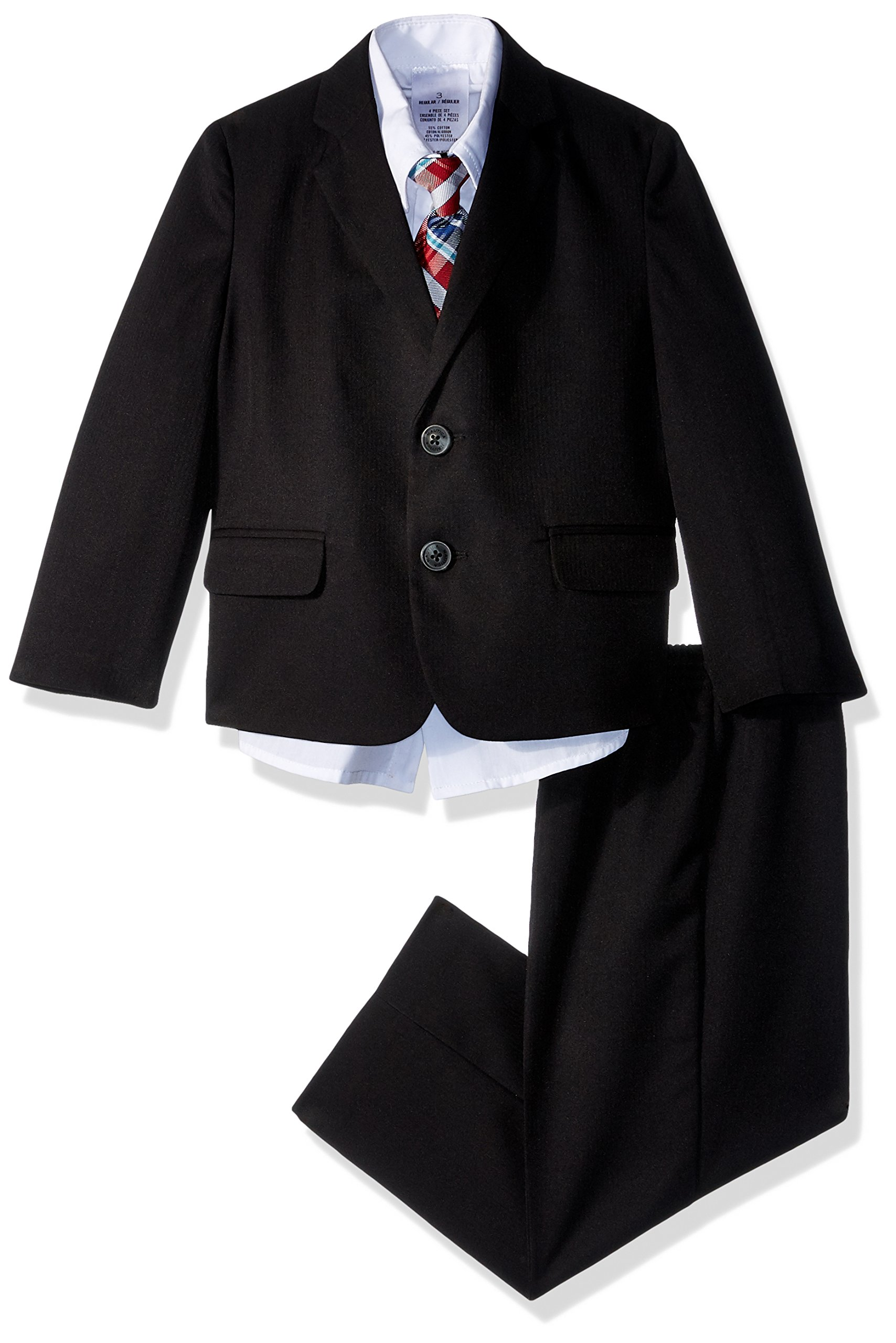 Nautica Toddler Boys' Suit Set with Jacket, Pant, Shirt, and Tie, Black Herringbone, 4T/4