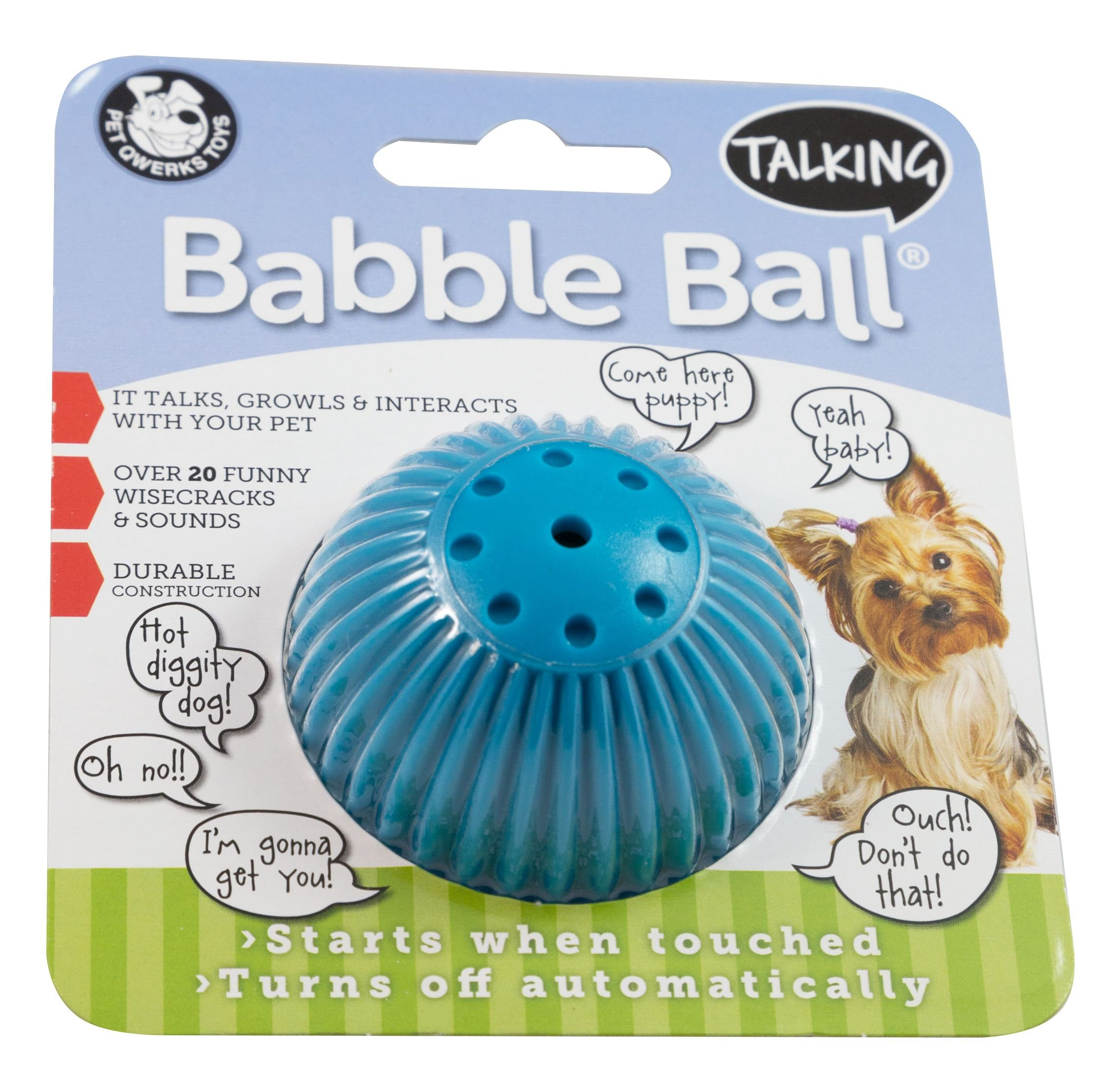 PetQwerks Talking Babble Ball Toy for Dogs and Cats, Small, by Pet Qwerks