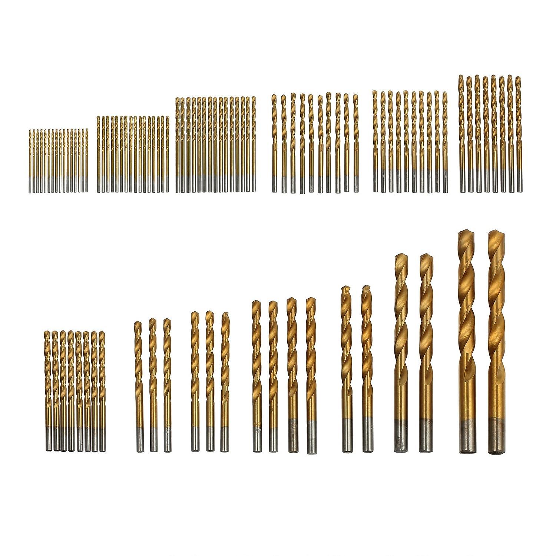Justecheu 99Stk. 1.5mm-10mm Titan Bohrer Edelstahl HSS-Tin Metallbohrer Spiralbohrer Satz TL191-de-J