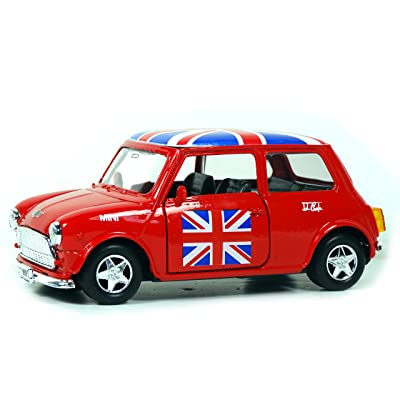 Mini Cooper Model (Red) with Union Jack Top Made of Die Cast Metal and Plastic Parts, Pull Back & Go Action Toy - 384R by Welly: Juguetes y juegos