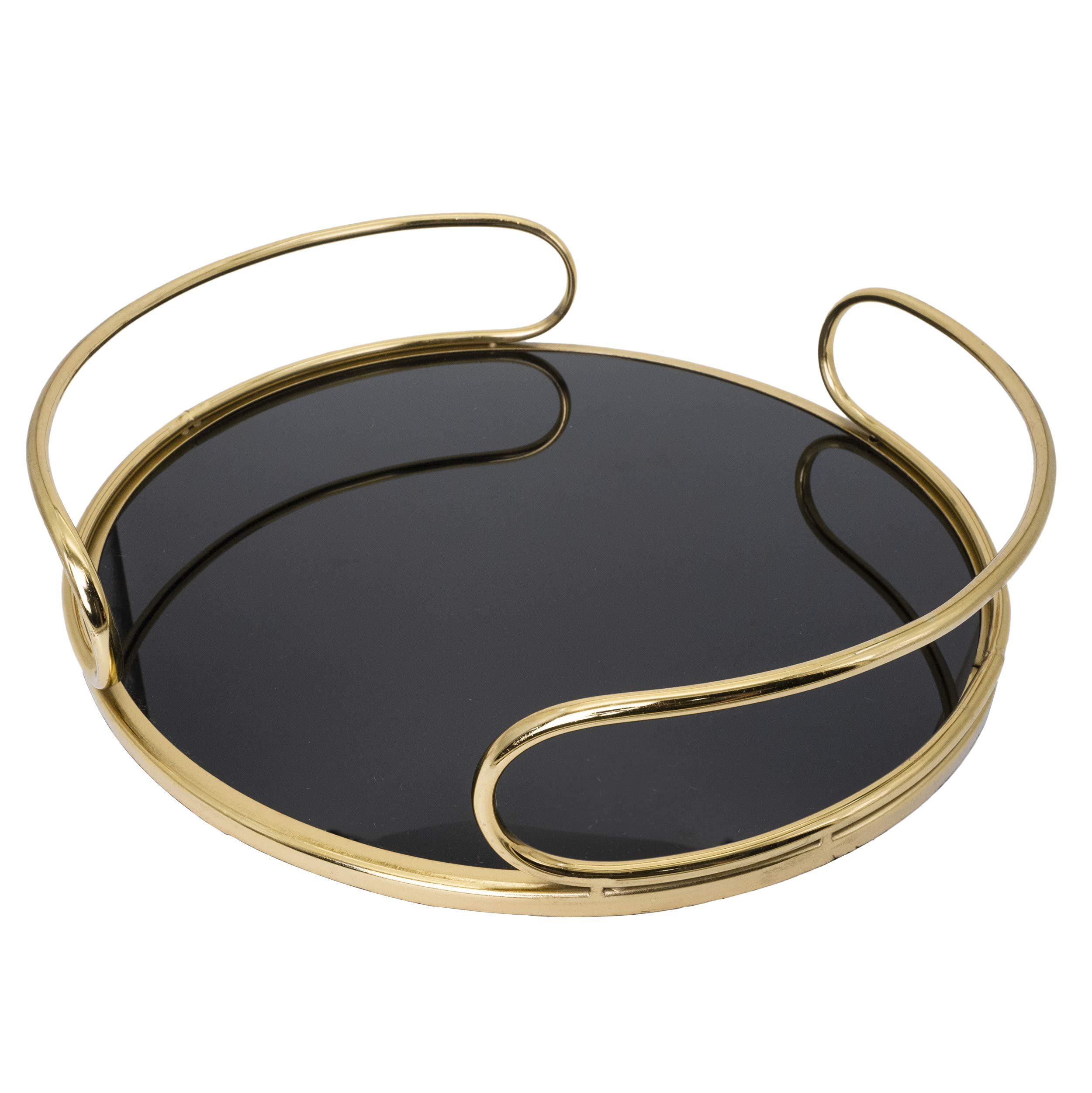 O-Plus Decorative Tray, Gold Metal Mirrored Round Tray with Diameter of 14 Inches (Black/White) by O-Plus