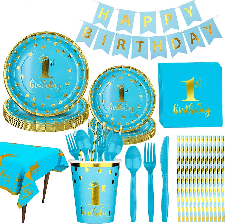 D/écoration de g/âteau 1er anniversaire avec double face paillettes. Une Bleu