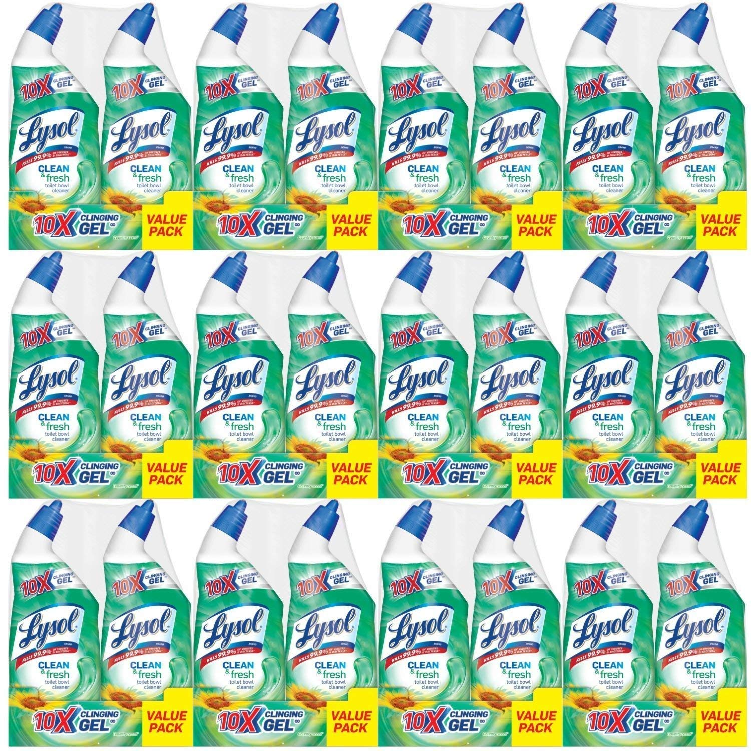 Lysol Power & Fresh Cling Toilet Bowl Cleaner Value Pack, Country Scent, 576 Ounce, Count of 24