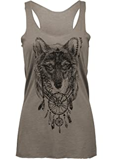 dd017d4b3eb217 Amazon.com  Womens Grey Wolf Boho Hippie Loose Fit Muscle Tee Tank ...