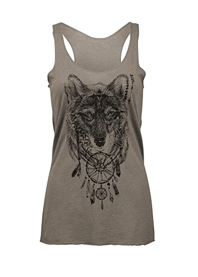 f650961917cf95 Glam and Gloria Womens Grey Bohemian Wolf Boho Hippie Loose Fit Muscle Tee  Tank Top –