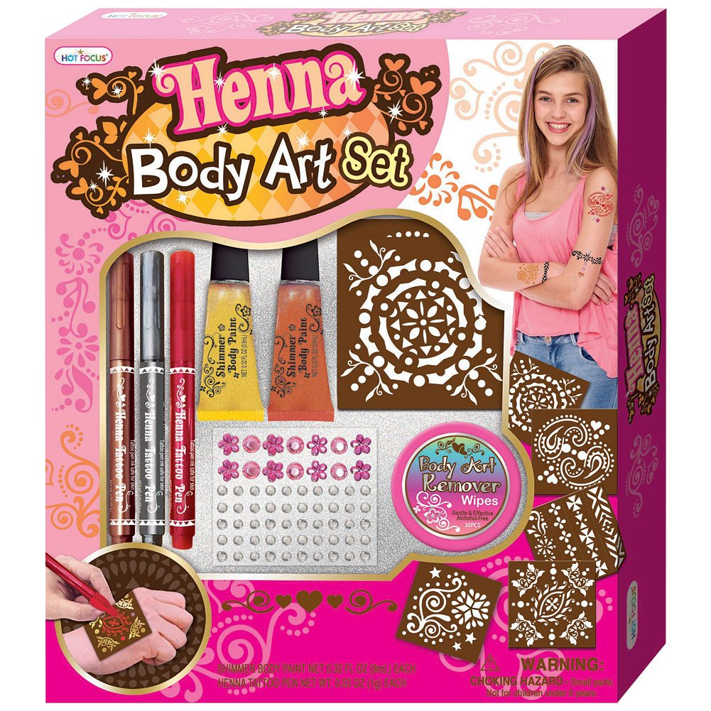 Do-It-Yourself DIY Shimmer Body Paint Henna Stencil Pen and Jewels Art Set HOT FOCUS INC.