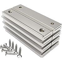 Magnetpro 8 piezas imanes rectangulares 30 kg de fuerza 60 x 13.5 x 5 mm con agujero avellanado, imanes de neodimio…