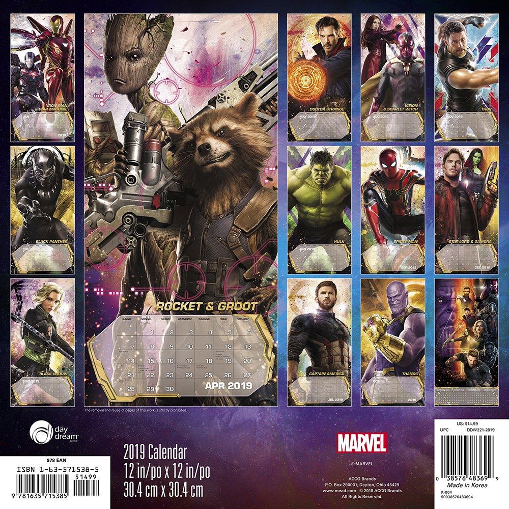 2019 Marvel Calendar Avengers: Infinity War Wall Calendar (2019): Day Dream