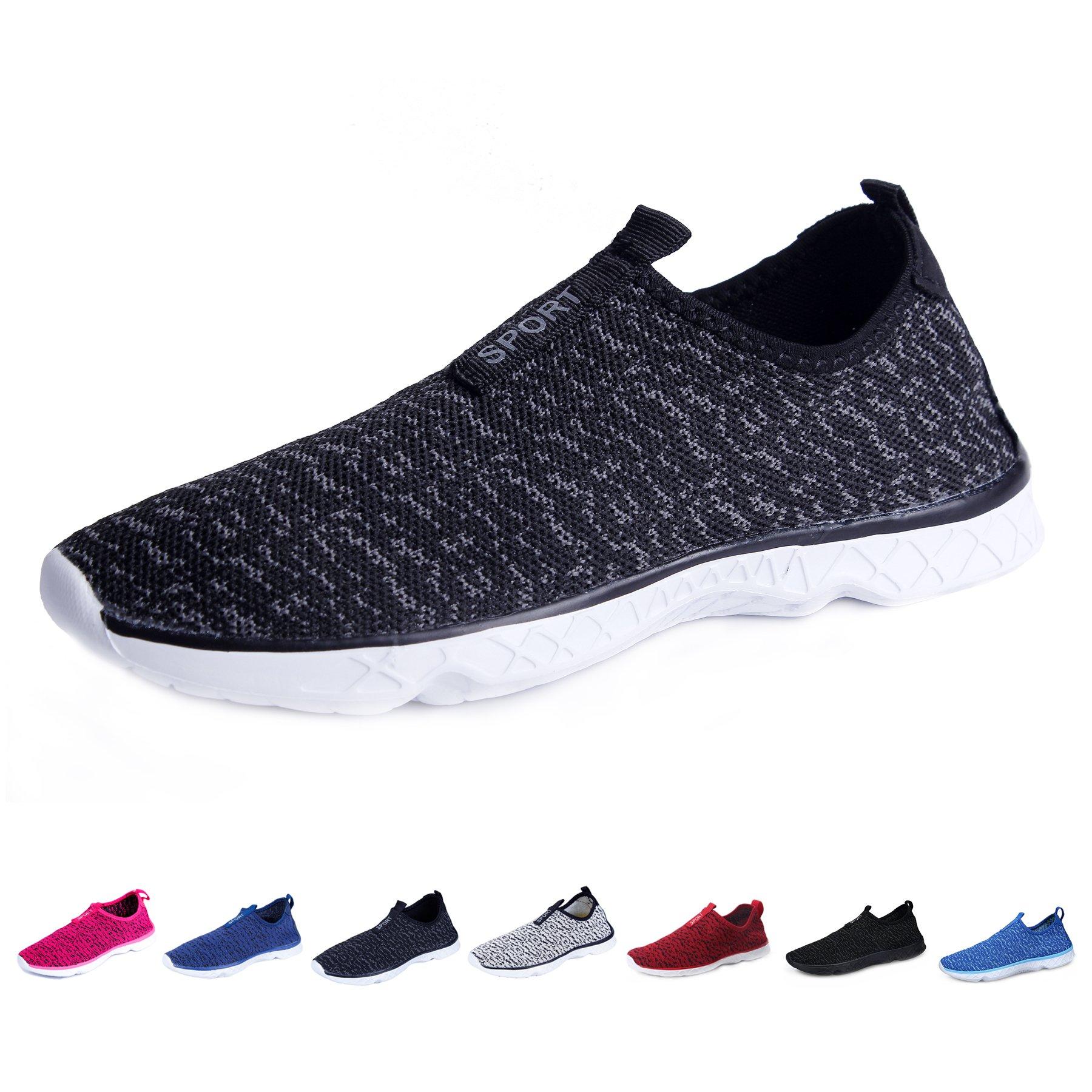 KEALUX Men Women Lightweight Water Shoes Walking Sneaker Quick-Dry Water Sport Barefoot Shoes(Black&Grey)-40