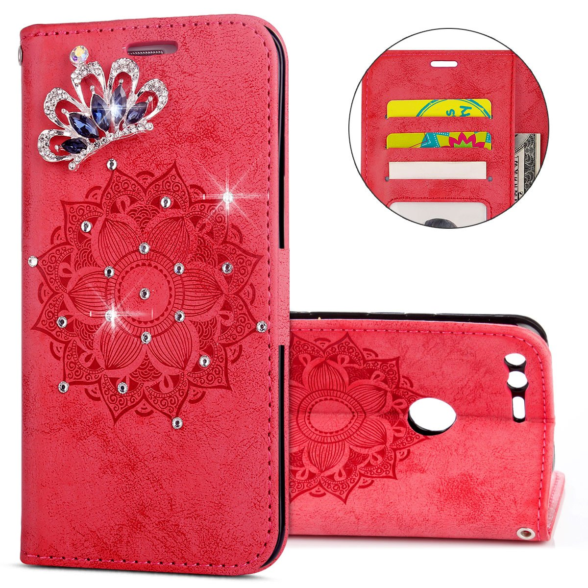 IKASEFU Gooogle Pixel XL Case,3D Clear Crown Rhinestone Diamond Bling Glitter Wallet with Card Holder Emboss Mandala Floral Pu Leather Magnetic Flip Case Protective Cover for Gooogle Pixel XL,Red