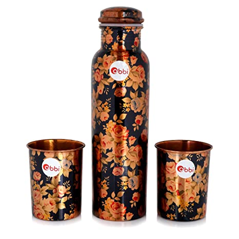 b7931ec34247 obbi Printed Pure Copper Bottle Set with 2 Copper Glass in Box Set of 3 Pcs