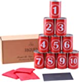 Tin Can Alley Game - PLAY & LEARN - Great Garden Games, Kids game & Garden Toy, For Party Games for children or even a Shooting game target, Real Metal Full Size Tin Cans - Includes Weatherproof Bean Bags - Jaques of London - Toys and Garden Games Since 1795