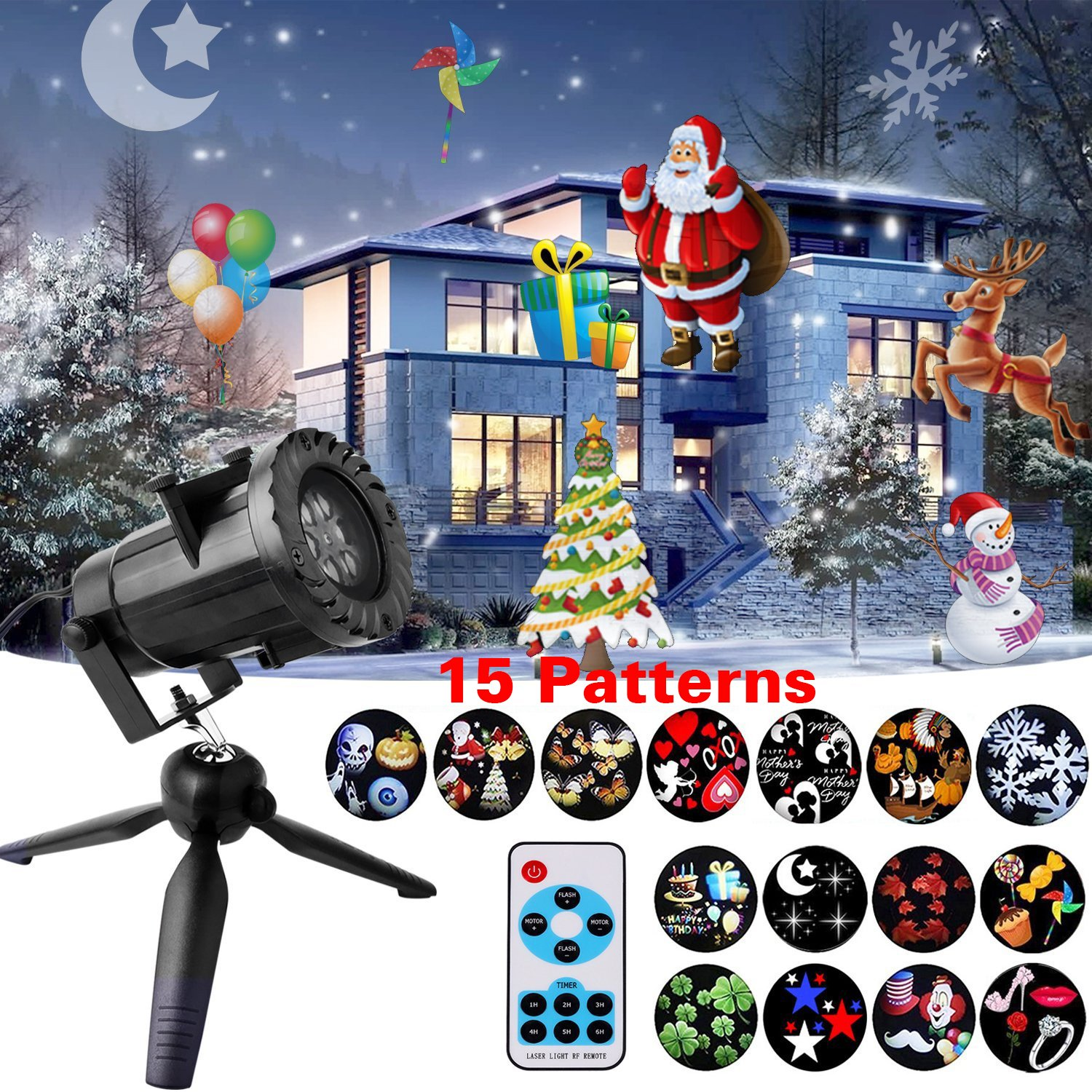 Remote Control Chirstmas Projector Light, Colleer Waterproof LED Landscape Lighting Spotlight with 15 Patterns for Christmas, Birthday, Halloween, Party, Weeding, Garden Decoration JJZM0056UK