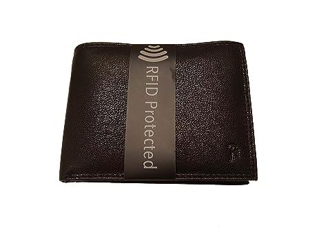 7cb195cc6b Portafoglio schermato da uomo con PROTEZIONE RFID, nero, in vera pelle,  doppie cuciture