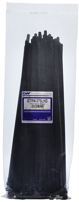 GW Kabelbinder-Technik, Kabelbinder wiederlösbar 370 x 7,6 mm, schwarz, 100 Stück, GTRN-370LHDBC 100 Stück
