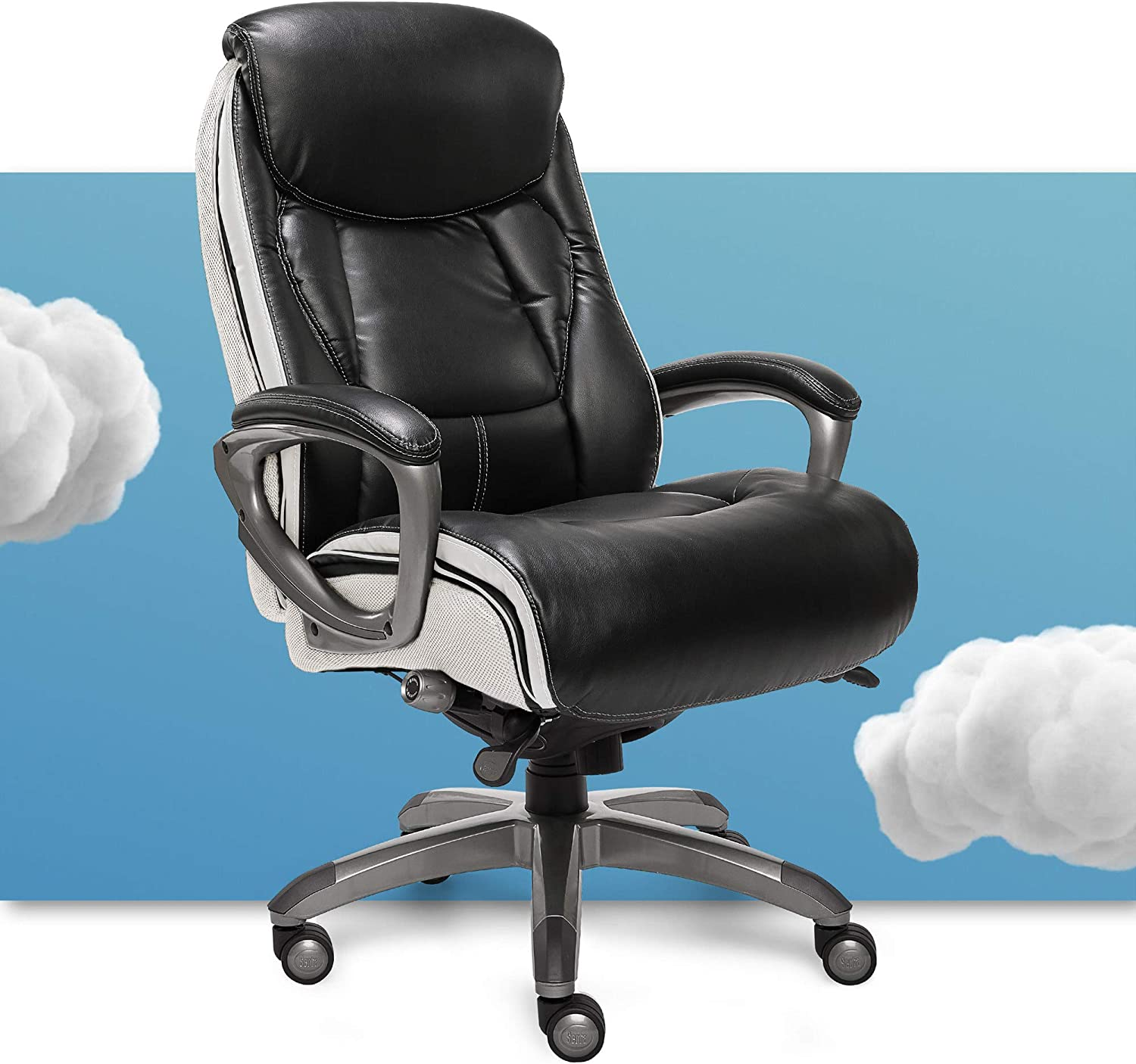 Amazon Com Serta 44942 Executive Office Chair With Smart Layers Technology Leather And Mesh Ergonomic With Contoured Lumbar And Comfortcoils Black White Furniture Decor
