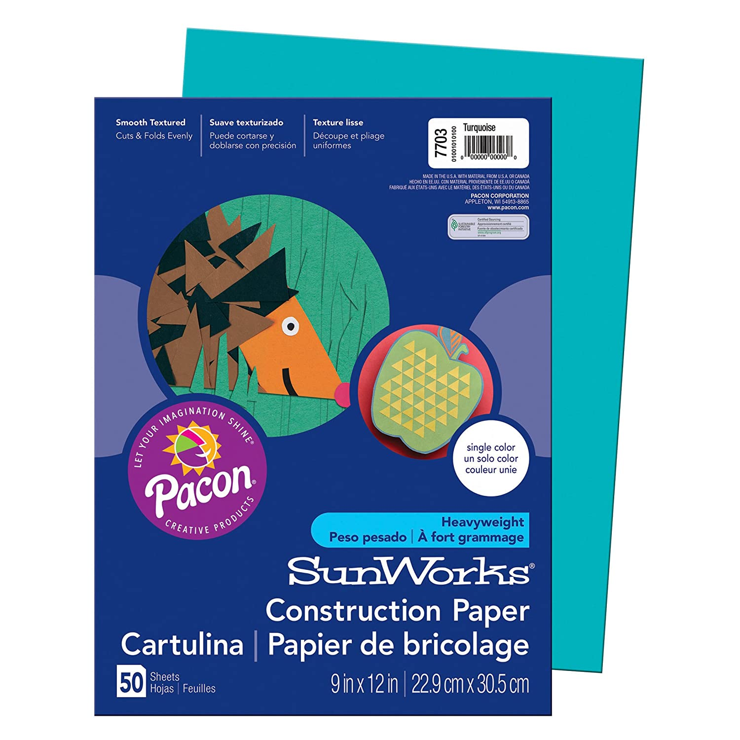 School Smart Heavyweight Construction Paper - 9 x 12 inches - Pack of 50 Sheets - Turquoise School Specialty 054201