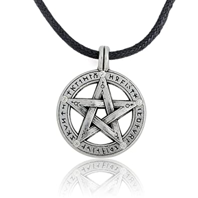 Supernatural pentacle pentagram pendant men necklace witch supernatural pentacle pentagram pendant men necklace witch protection star amulet necklace leather rope chain mozeypictures Gallery