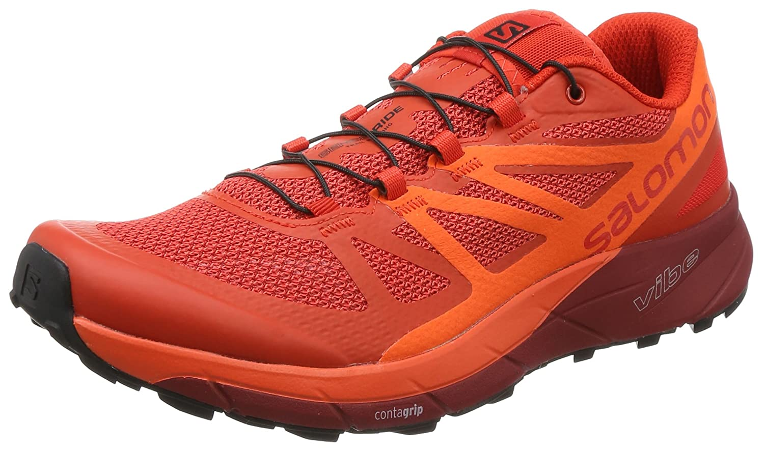 Salomon Sense Ride, Zapatillas de Trail Running para Hombre 43 1/3 EU|Rojo (Fiery Red/Scarlet Ibis/Red Dalhia 000)