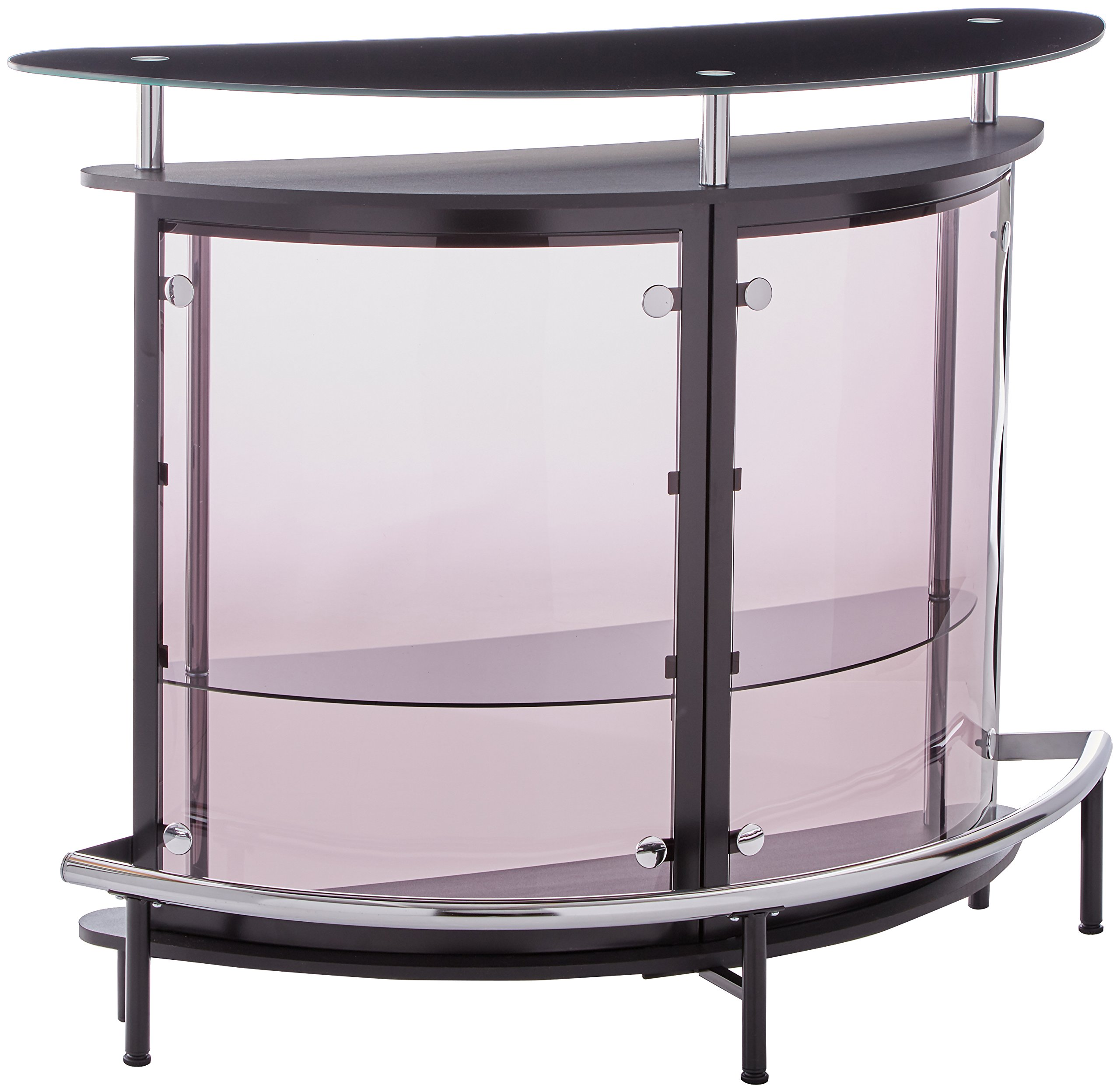 Bar Unit with Acrylic Front Black, Chrome and Smoke by Coaster Home Furnishings