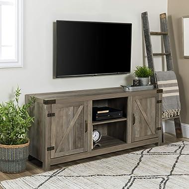 WE Furniture W58BDSDGW Barn Door TV Stand, 58 , Grey Wash