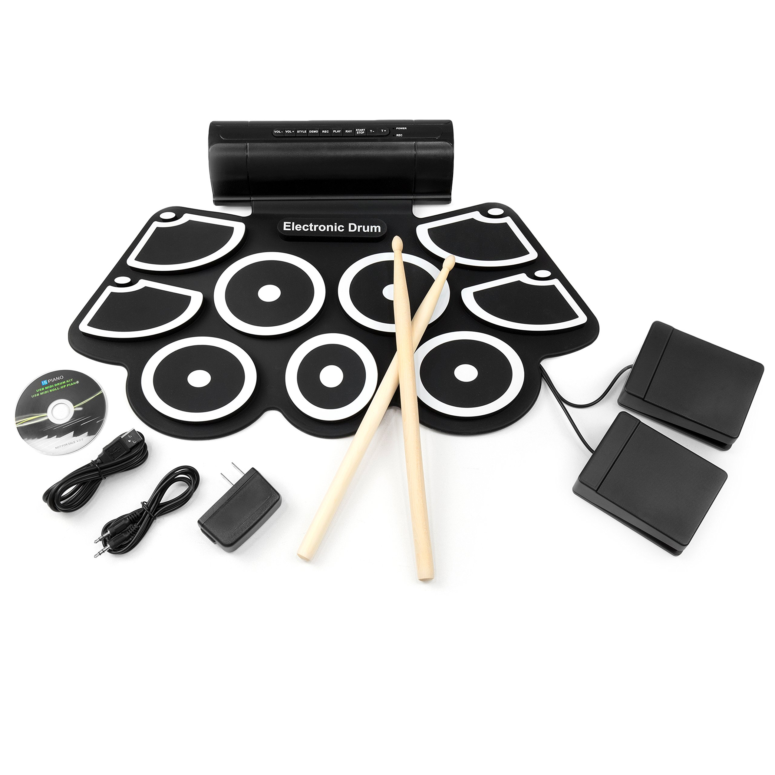 Best Choice Products Roll-Up Foldable Electronic Full Drum Kit Set w/USB MIDI, Built-In Speakers, Foot Pedals, Drumsticks - Black