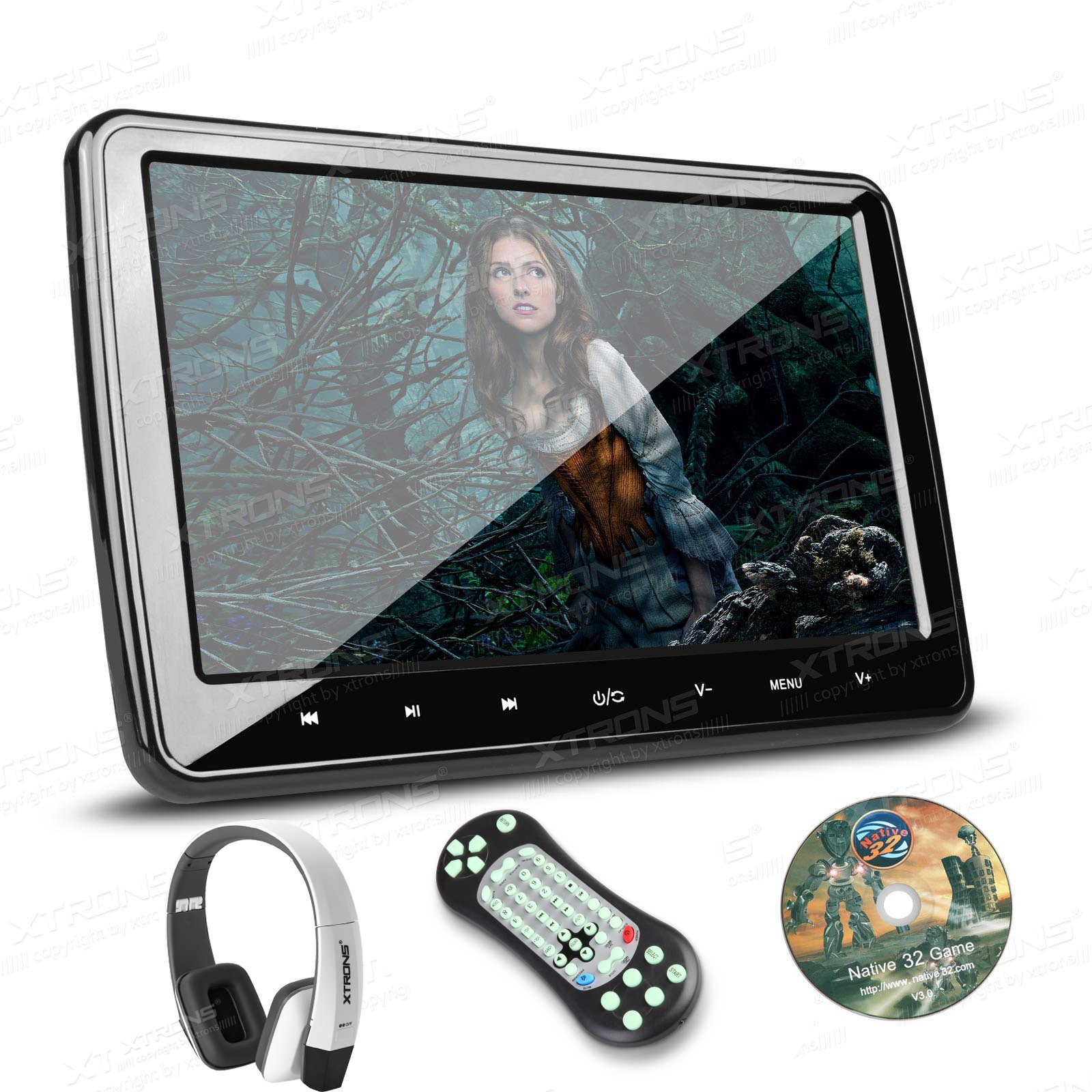 XTRONS 10.1 Inch HD Digital Screen Car Headrest DVD Player Ultra-Thin Detachable Touch Button with HDMI Port One New Version White IR Headphone Included