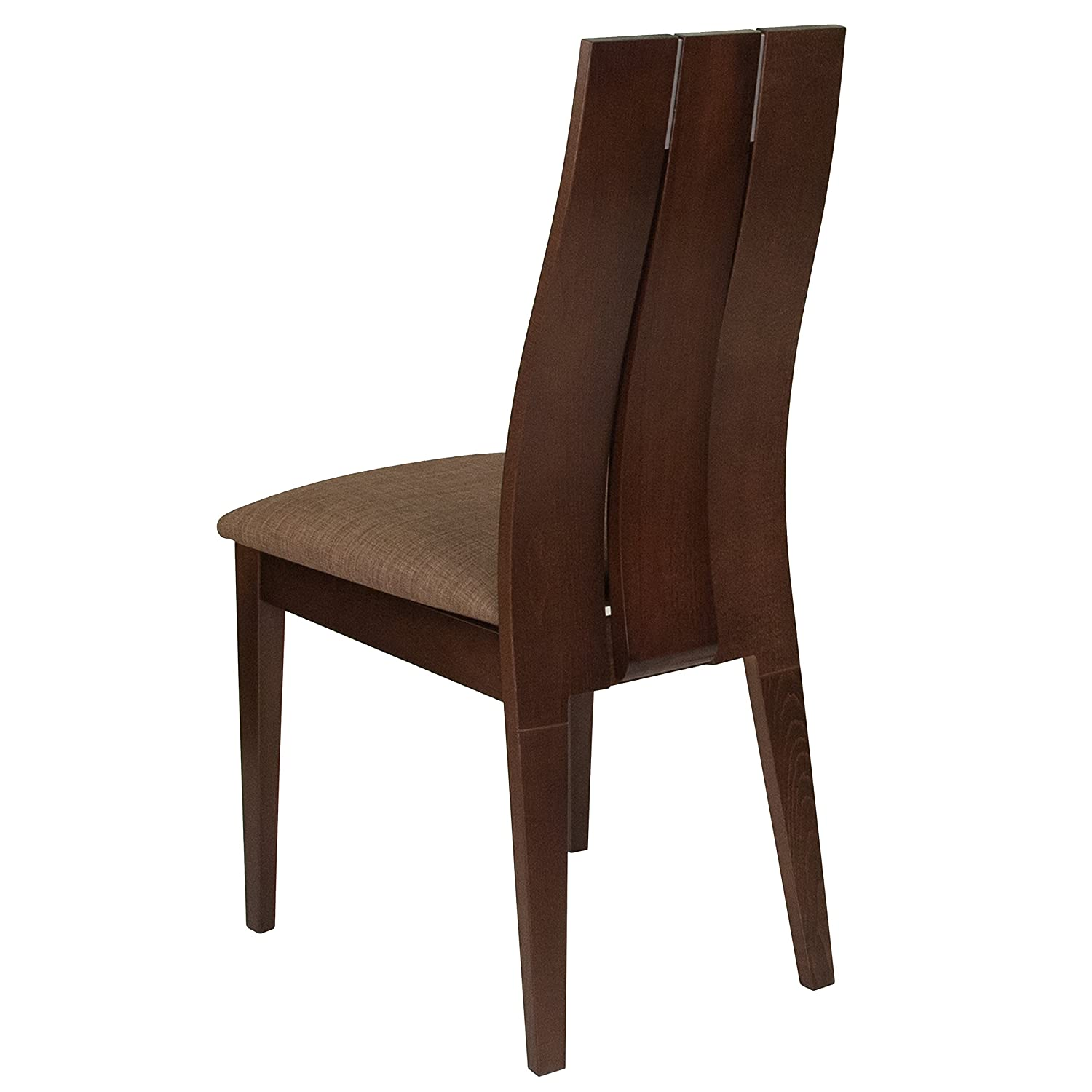 Flash Furniture Hadley Espresso Finish Wood Dining Chair with Wide Slat Back /& Golden Honey Brown Fabric Seat