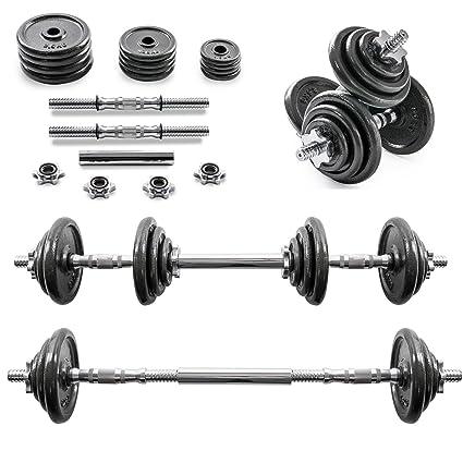 Home Treats 20 kg ajustable mancuerna/juego de pesas de hierro fundido para levantamiento de