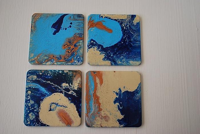 Amazon com: 4 x 4 Coasters - Set of 4 - Fluid Acrylic Art