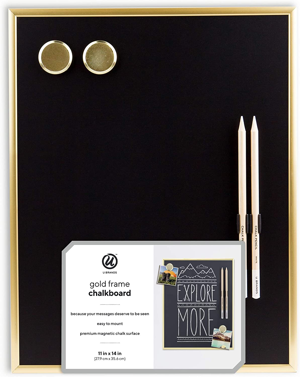 Amazon Com U Brands Magnetic Chalkboard 11 X 14 Inches Gold Metal Frame Markers And Magnets Included 2374u00 04 Office Products