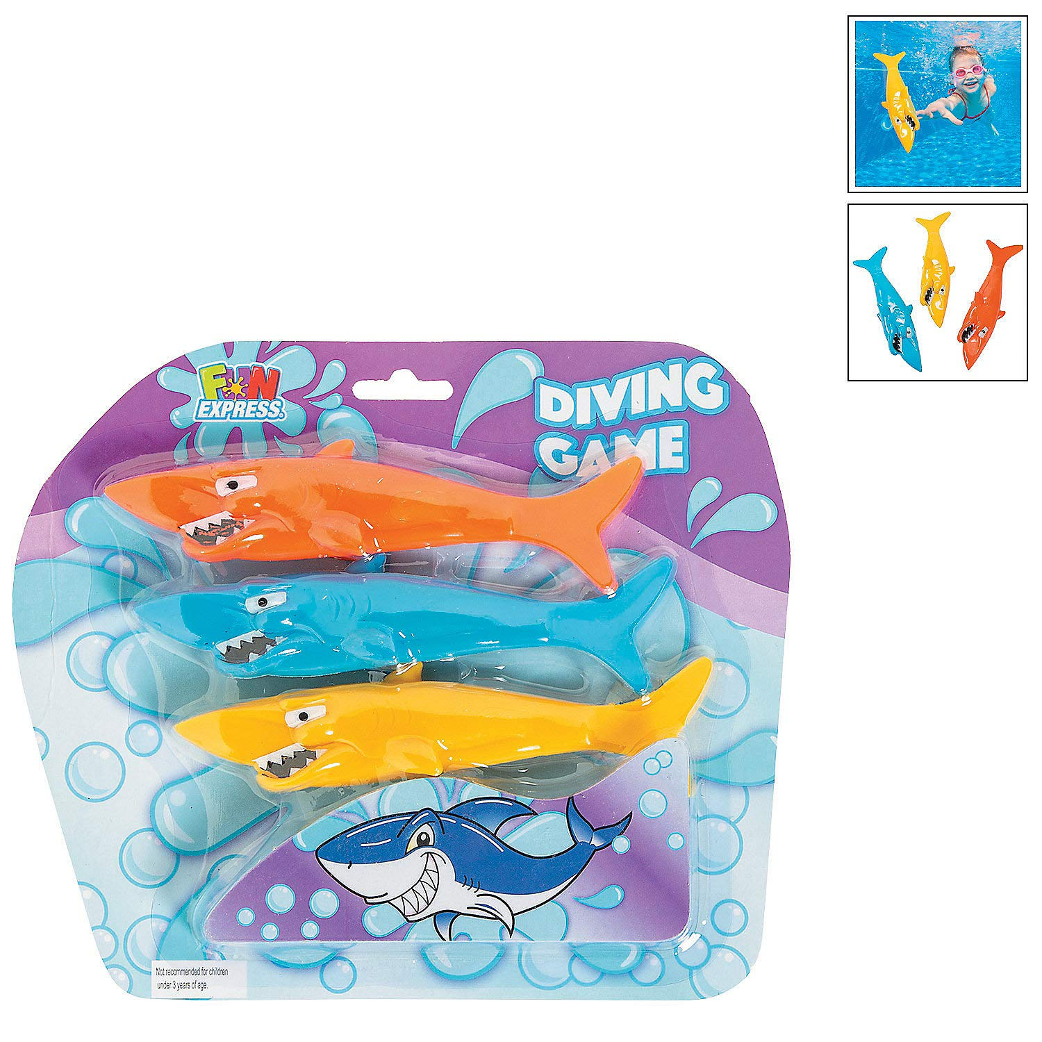 Fun Express - Bc Diving for Sharks 3 Pc Set - Toys - Active Play - Water Toys - 6 Pieces by Fun Express